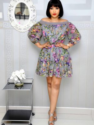 Grey Off-Shoulder Floral Skater Dress
