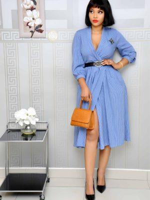 Sky Blue Stripes Wrap Dress