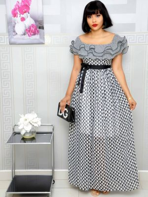 Black and White Ruffle Off Shoulder Maxi Dress