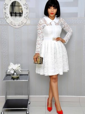 White Lacy Skater Dress