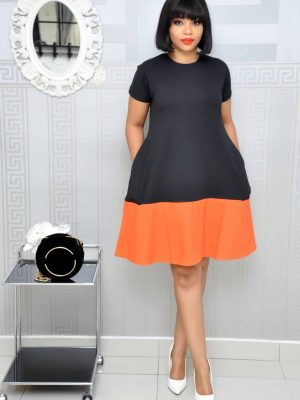 Black and Orange Shift Dress