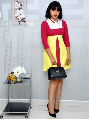 Burgundy and Yellow Shift Dress