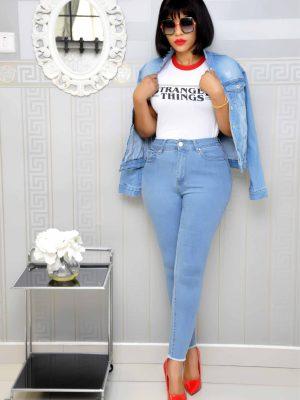 Sky Blue High Waist Sky Blue Jeans Trousers