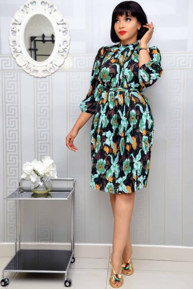 Green pleated floral shift dress