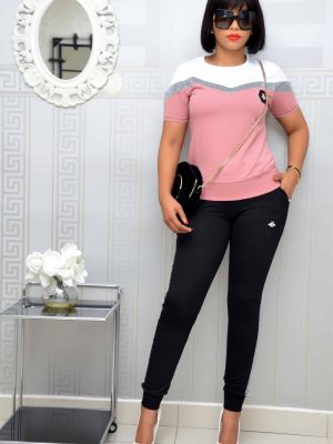Peach and Black Trouser Set with Shimmer