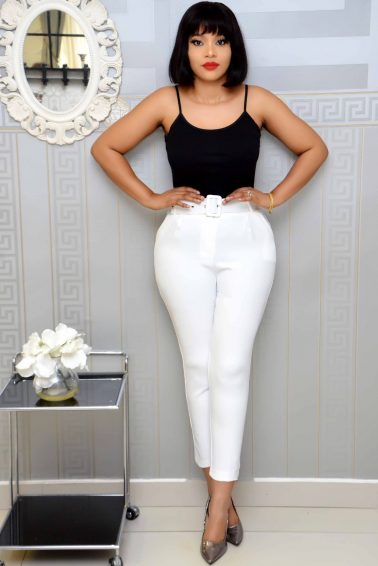 WHITE BELTED CIGARETTE PANT