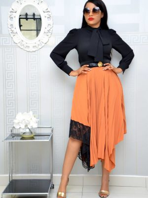 BURNT ORANGE PLEATED SKIRT WITH LACE