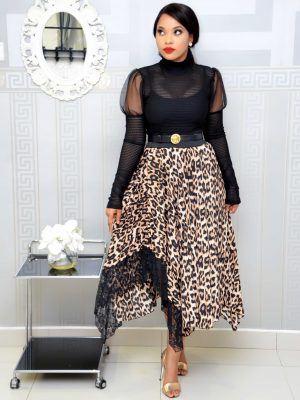 ANIMAL PRINT PLEATED SKIRT WITH LACE