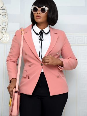 PEACH BLAZER WITH GOLD BOTTON