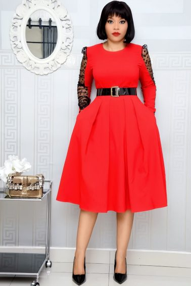 RED SKATER DRESS WITH RUFFLE POLKADOT MESH SLEEVE