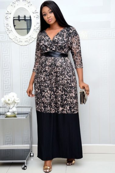 BLACK & BROWN PLEATED MAXI DRESS WITH LACE