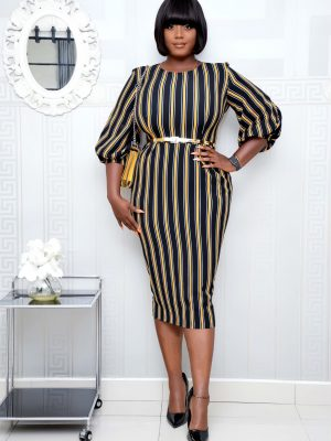 MUSTARD & BLACK STRIPE PUFFY SLEEVE DRESS