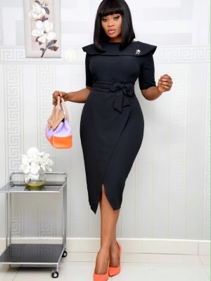 BLACK WRAP DRESS WITH BELT