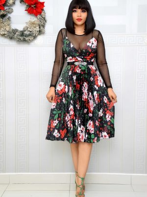 BELTED FLORAL PLEATED DRESS  WITH MESH INNER
