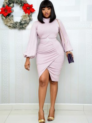 BABY PINK SHIMMER TURTLE NECK WRAP DRESS