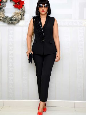 BLACK TROUSER SET WITH FEATHERED JACKET