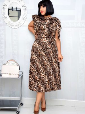 ANIMAL PRINT SLEEVELESS DRESS WITH CAPE