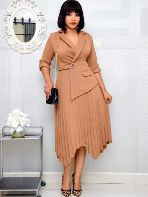 TAN PLEATED BLAZER WRAP DRESS
