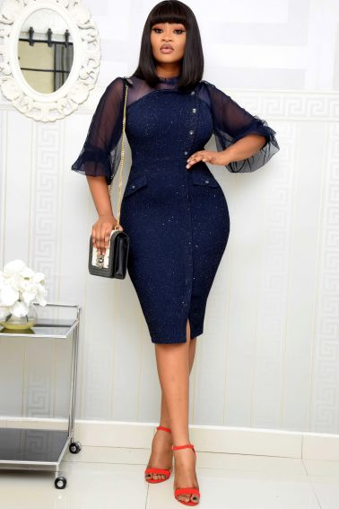 NAVY BLUE TWEED SHIMMER DRESS WITH MESH
