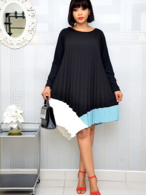 BLACK AND TEAL PLEATED SHIFT DRESS