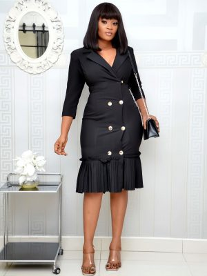 BLACK MILITARY DRESS WITH PLEATS