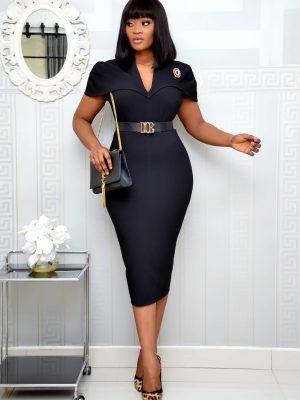 BLACK CAPE DRESS WITH BELT