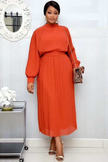 BURNT ORANGE PLEATED TUNIC DRESS