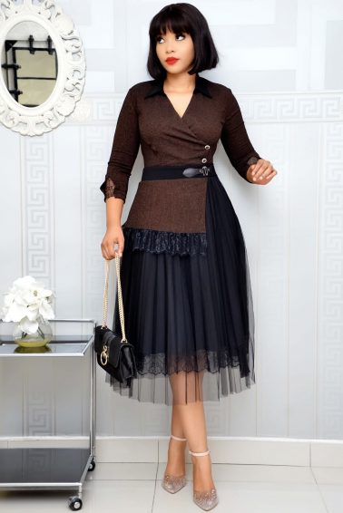 BROWN AND BLACK TULLE SKIRT