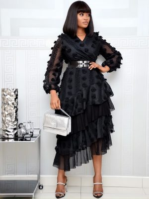 BLACK BELTED LAYER DRESS