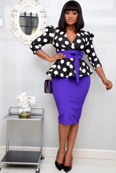 PURPLE POLKA DOT PEPLUM SET