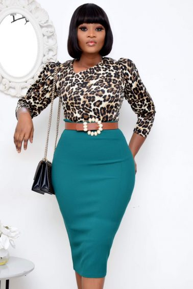 LEOPARD PUFFY SLEEVE TOP