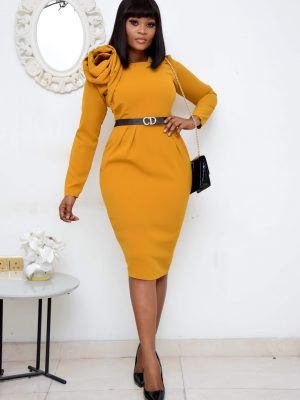 MUSTARD ROSE DETAIL DRESS