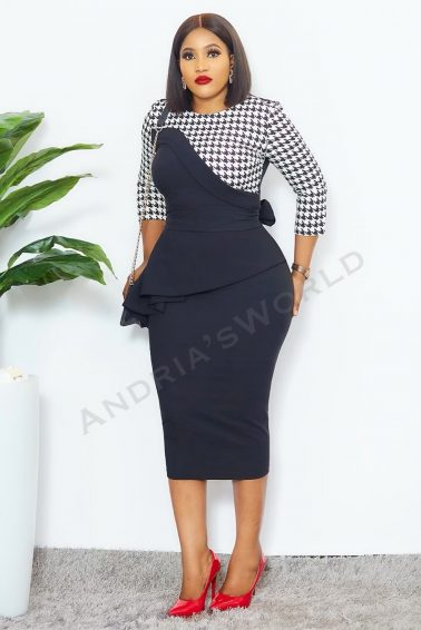 BLACK & WHITE HOUNDTOOTH DRESS WITH BELT