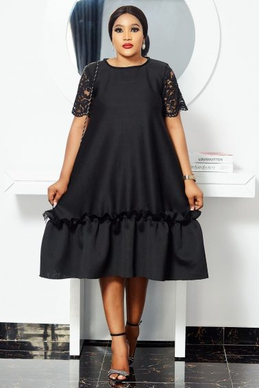 BLACK SCUBA DRESS WITH LACE SLEEVES