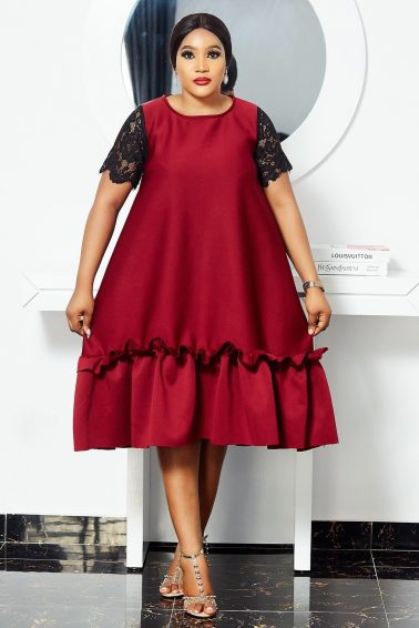 BURGUNDY SCUBA DRESS WITH LACE SLEEVES