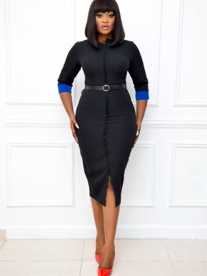 BLACK DRESSS WITH BUTTON DETAIL