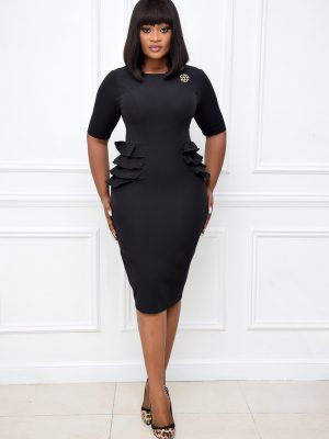 BLACK DRESS WITH SIDE RUFFLES