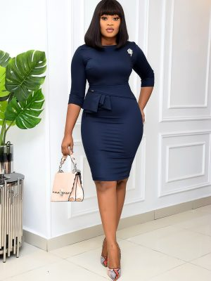 NAVY BLUE MIDI WITH SIDE FLAP