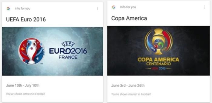 Google Now Cards Copa América Eurocopa 2016 Centenario Calendario