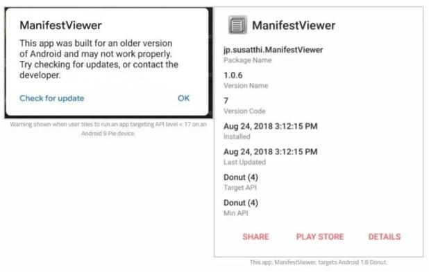 Aplicaciones obsoletas en Android Q