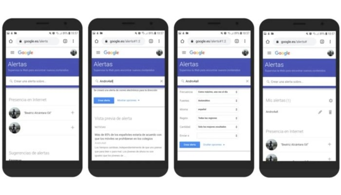 Alertas de Google en Android