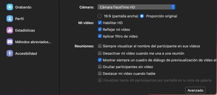Activar filtro de video en Zoom