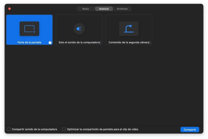 Compartir area de la pantalla