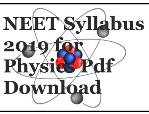 NEET 2019 Syllabus Pdf Download % NEET 2020
