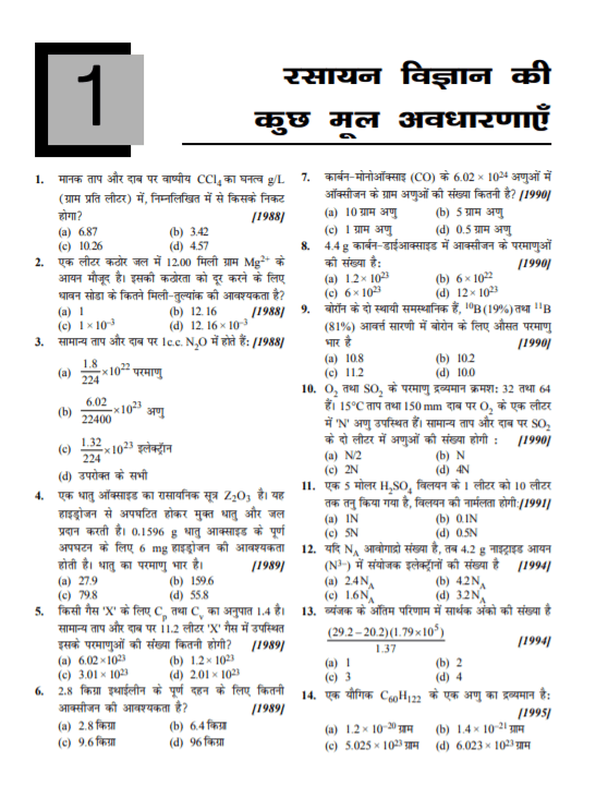 30 Year NEET Question Paper in Hindi