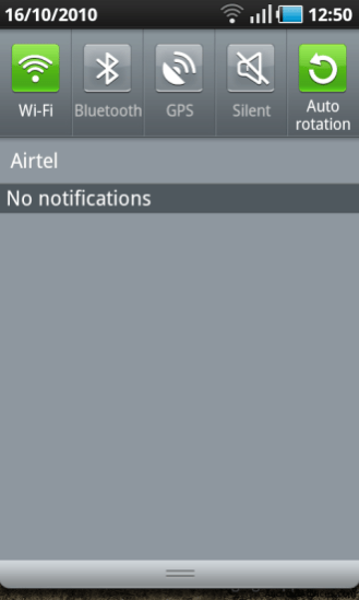 auto rotation notification tray