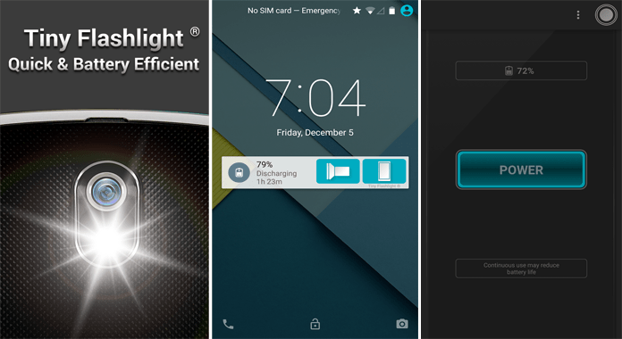 Tiny Flashlight Best Free Flashlight Apps for Android with no extra permission