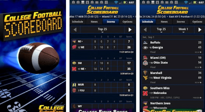 Best College Football Apps for Android - 2016 College Football Scoreboard