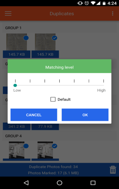 Duplicate Photos Fixer for Android Matching level