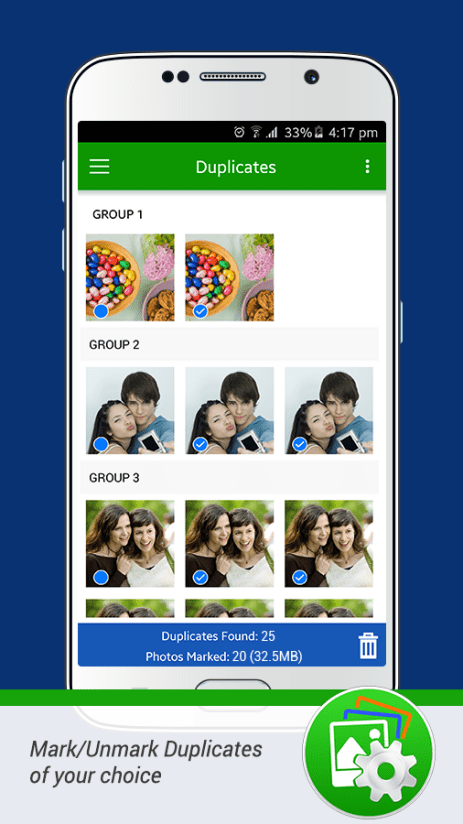 Duplicate Photos Fixer Review for Android mark and unmark